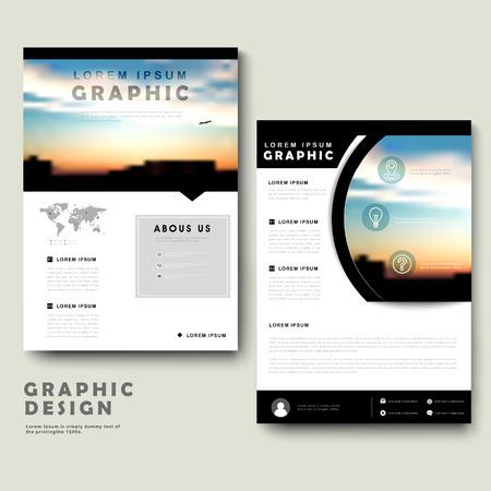 picturesque: Picturesque brochure template design with city landscape Illustration