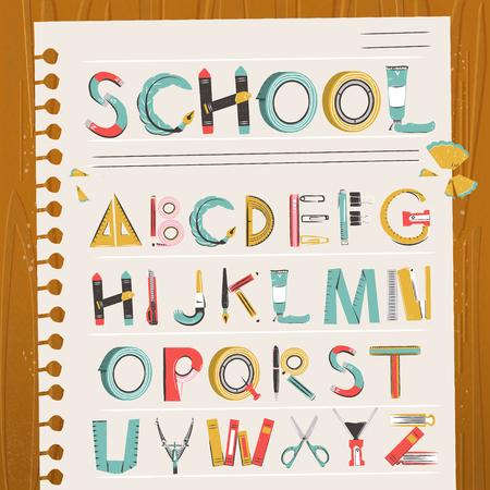 notepaper: Lovely school stationery font design on notepaper Illustration