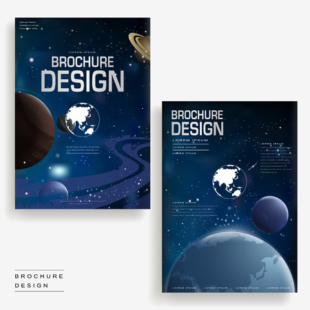 Attractive Brochure Template Design With Universe Scenery Royalty