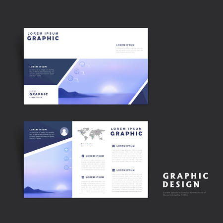 picturesque: Picturesque brochure template design with rising sun over the sea