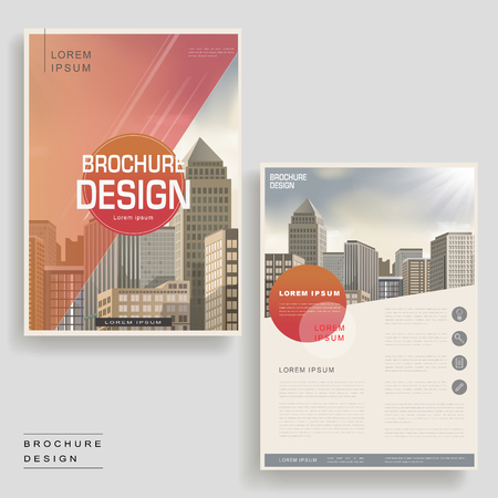 architecture design: Modern brochure template design with urban landscape and geometric elements Illustration