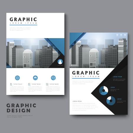 도시 경관 및 기하학적 요소로 단순한 템플릿 디자인