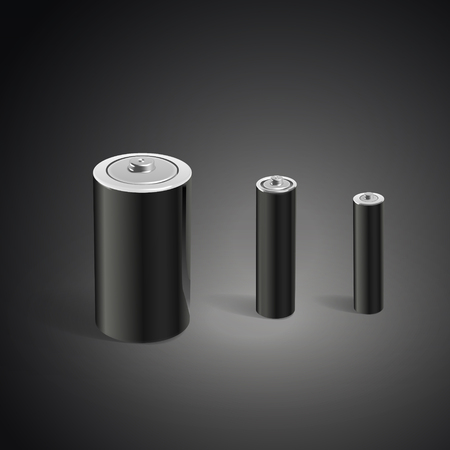 power supply unit: blank batteries template isolated on black background. 3D illustration.