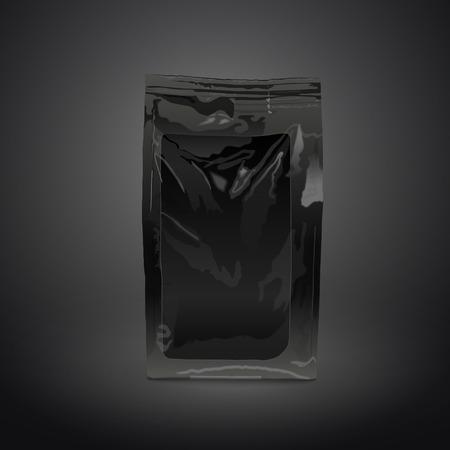 foil food packaging isolated on black background. 3D illustration.