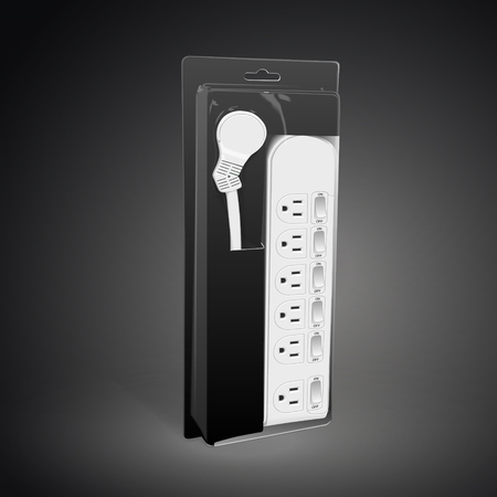 adapter: multi-socket adapter with package isolated on black background. 3D illustration.