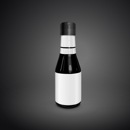 dressing up: blank sauce bottle isolated on black background. 3D illustration.