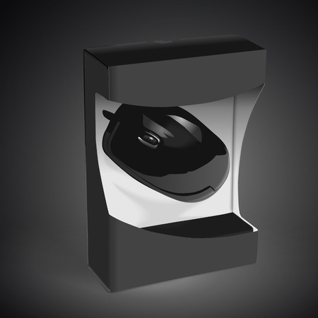 scroller: black mouse wrapped in the box isolated on black background. 3D illustration. Stock Photo