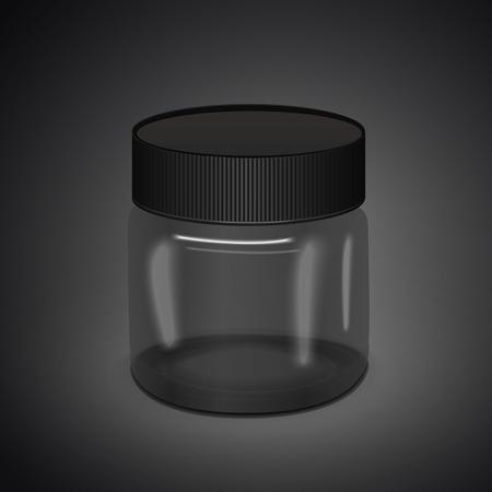 translucent: blank translucent canister isolated on black background. 3D illustration.