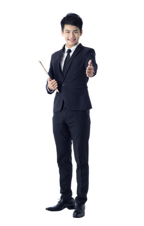 outstretched hand: Portrait of young businessman with outstretched hand ready for shaking hand