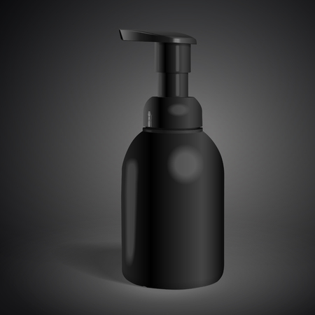 cosmetic bottle: blank cosmetic bottle isolated on black background. 3D illustration. Stock Photo