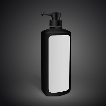 blank label: shampoo bottle with blank label isolated on black background. 3D illustration.