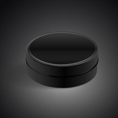 metal box: round metal box isolated on black background. 3D illustration. Stock Photo