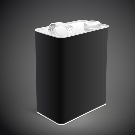 corrosion: liquid container can isolated on black background. 3D illustration.