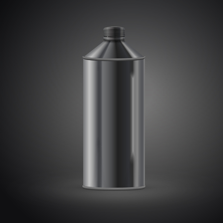 carbonated beverage: metal drink can isolated on black background. 3D illustration.