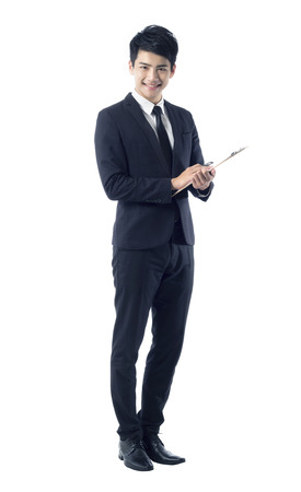service man: Portrait of professional young businessman with clipboard
