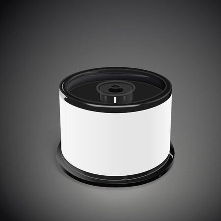 cd label: CD container with blank label isolated on black background. 3D illustration.