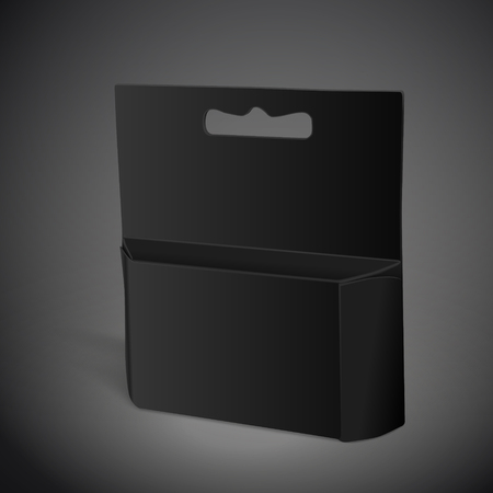 apertures: blank paper package isolated on black background. 3D illustration. Stock Photo