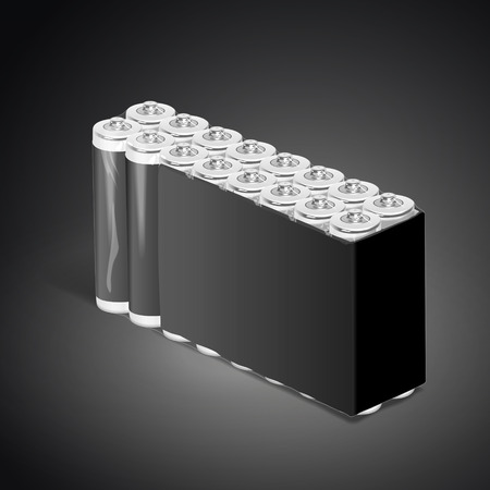 power supply unit: pack of blank batteries isolated on black background. 3D illustration. Stock Photo
