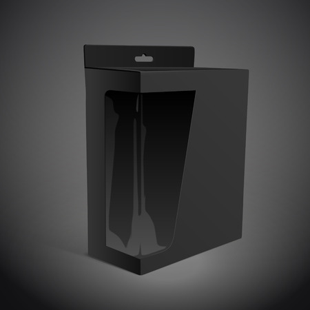 shipped: blank paper box with transparent window on black background. 3D illustration.