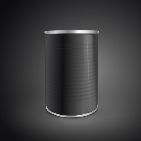 canned drink: blank food can isolated on black background. 3D illustration.
