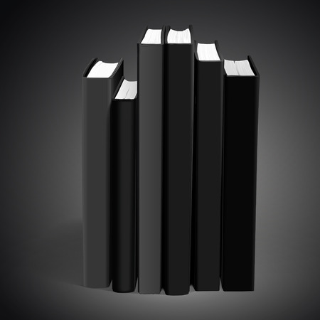 hardcover: hardcover blank books isolated on black background. 3D illustration. Stock Photo