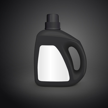 dish washing: plastic detergent container isolated on black background. 3D illustration.