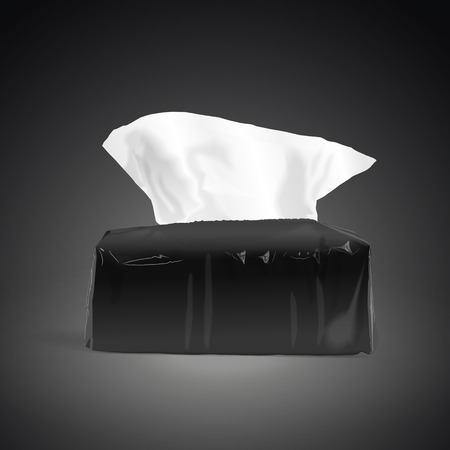 soft tissues: pack of open tissue paper isolated on black background. 3D illustration. Stock Photo