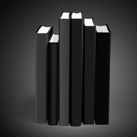 hardcover: hardcover blank books isolated on black background. 3D illustration. Illustration