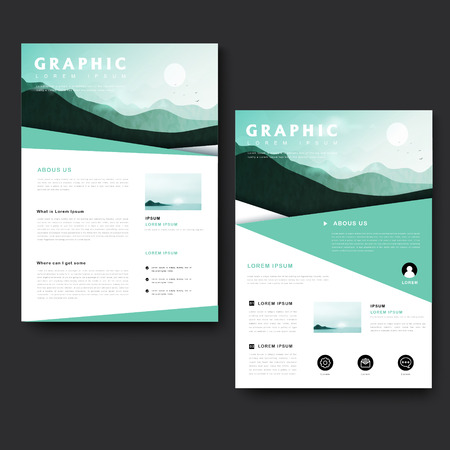 picturesque: Picturesque brochure template design with city landscape and mountain scenery