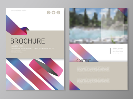 riverbank: Brochure, flyer and cover template design with blurred riverbank scenery