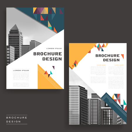 typesetting: Simplicity brochure template design with city landscape and polygons