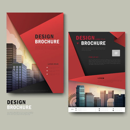 typesetting: Modern brochure template design with city landscape and origami elements