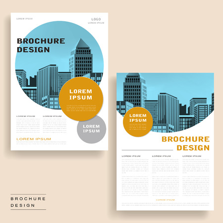 simplicity: Simplicity brochure template design with city landscape and geometric elements Illustration