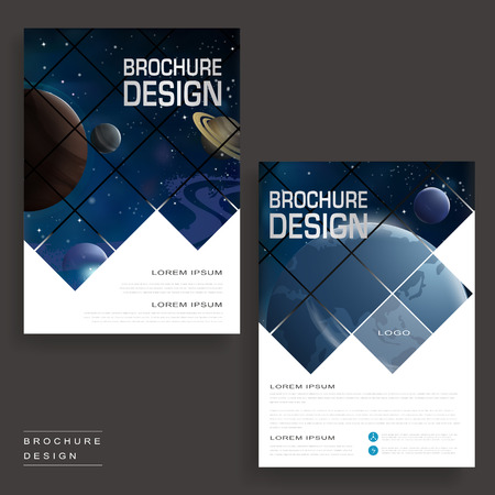 flyer layout: Trendy brochure template design with universe scenery and geometric elements