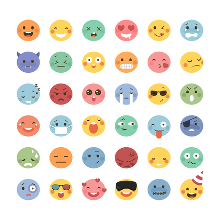 awkward: Adorable emoticon design, 36 different facial expressions