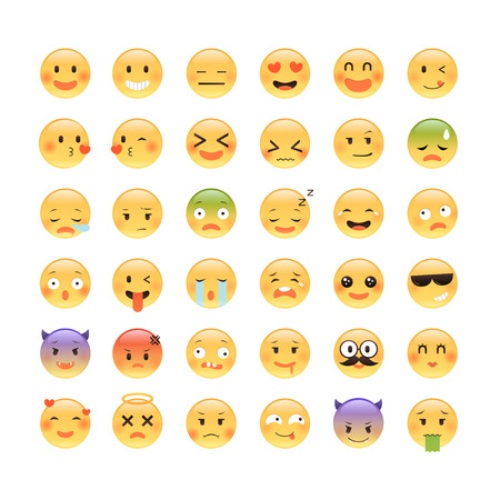 awkward: Adorable classic emoticon design, 36 different facial expressions