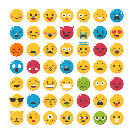 Lovely emoticons design set with 49 different expressions
