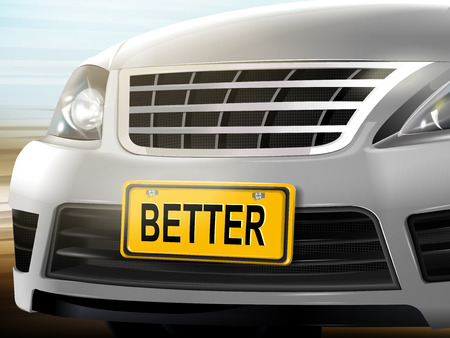 license plate: Better words on license plate, brand new silver car over blurred background, 3D illustration