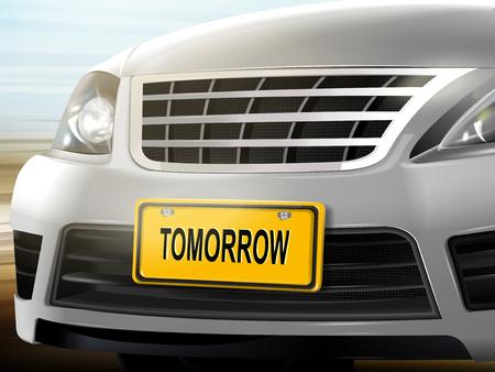 Morgen woorden op kenteken, merk nieuwe zilveren auto over onscherpe achtergrond, 3D illustratie Stock Illustratie