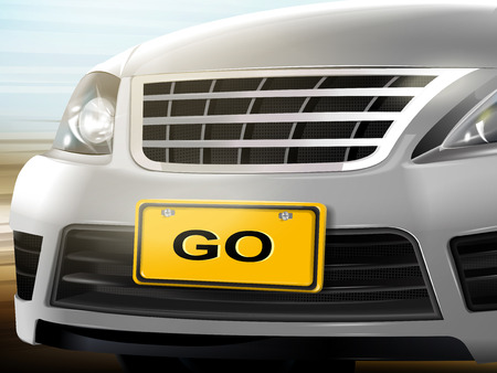 license plate: Go words on license plate, brand new silver car over blurred background, 3D illustration Illustration