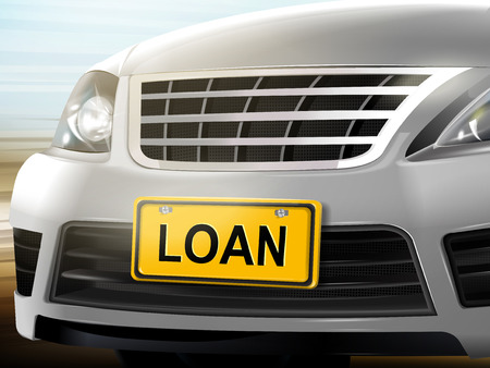 license plate: Loan words on license plate, brand new silver car over blurred background, 3D illustration