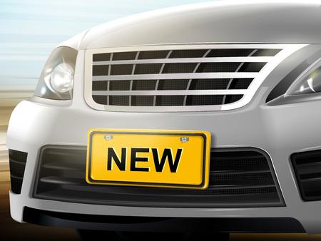 Nieuwe woorden op kenteken, merk nieuwe zilveren auto over onscherpe achtergrond, 3D illustratie