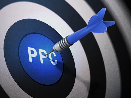 advertiser: PPC target hitting by dart arrow, 3D illustration concept image