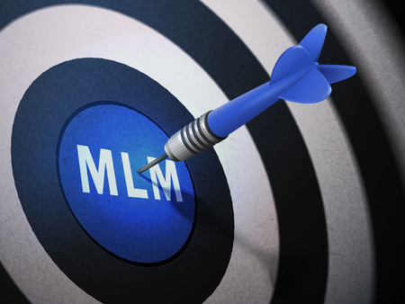 mlm: MLM target hitting by dart arrow, 3D illustration concept image