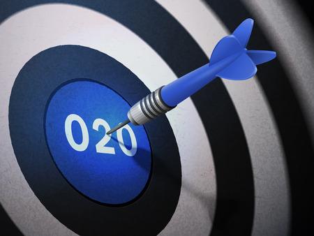 O2O target hitting by dart arrow, 3D illustration concept image