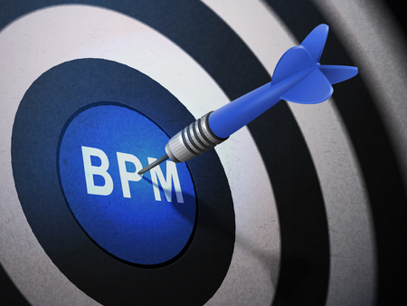 bpm: BPM target hitting by dart arrow, 3D illustration concept image Illustration