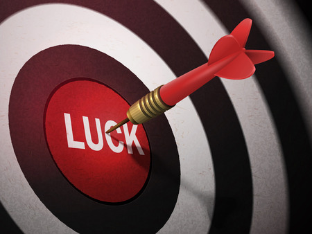 LUCK target hitting by dart arrow, 3D illustration concept image