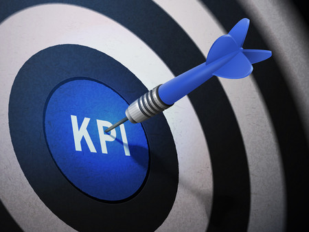 KPI target hitting by dart arrow, 3D illustration concept image