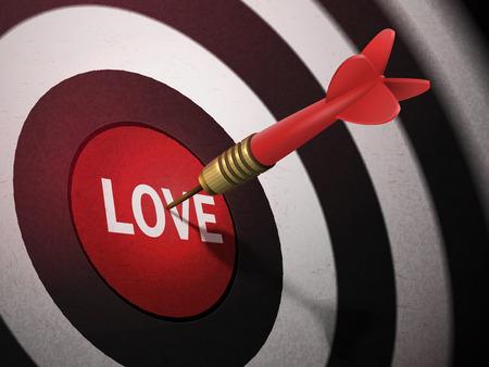 LOVE target hitting by dart arrow, 3D illustration concept image Illustration