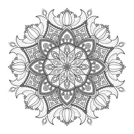 Ornamento Decorativo De La Mandala, Un Esquema Del Diseño Floral ...